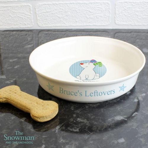 Personalised The Snowdog Blue Pet Bowl